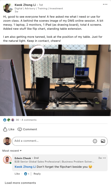 A peek behind-the-scenes of the online training setup of one of Equinet's Trainers