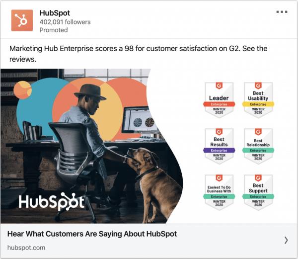 Hubspot ads on customer satisfaction