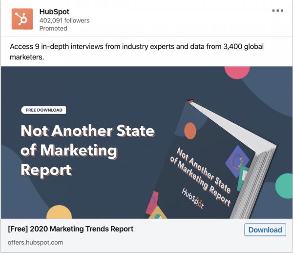 Hubspot ads on 2020 Marketing Trends Report