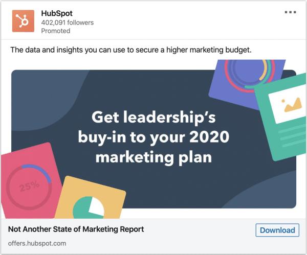 Hubspot ads on 2020 marketing plan