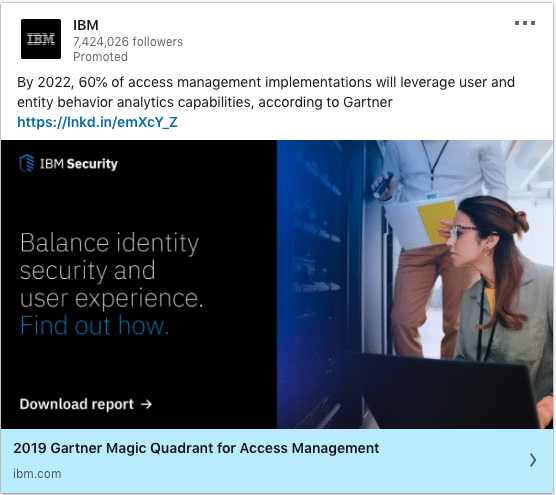 IBM ads on Balance identity security and user experience