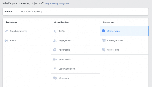 FB Ads Objective Examples