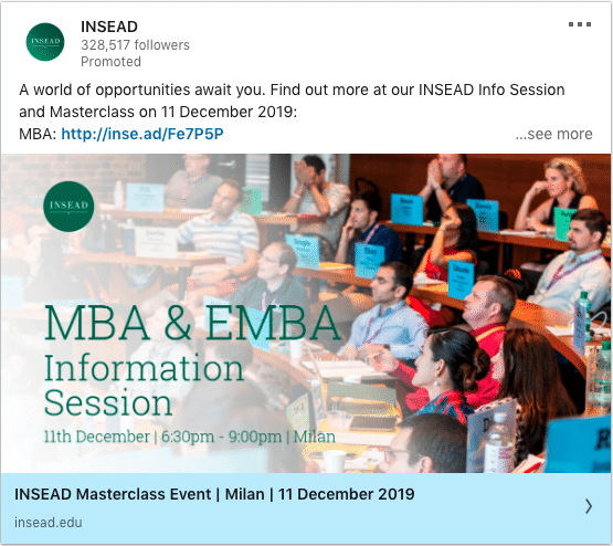 INSEAD ads on MBA & EMBA