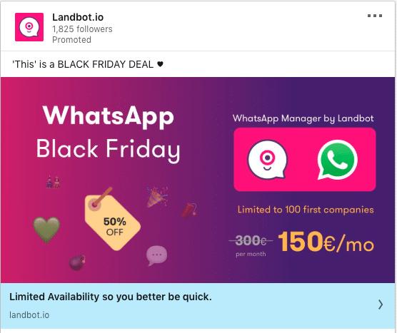 LandBot.io ads on Black Friday Deal