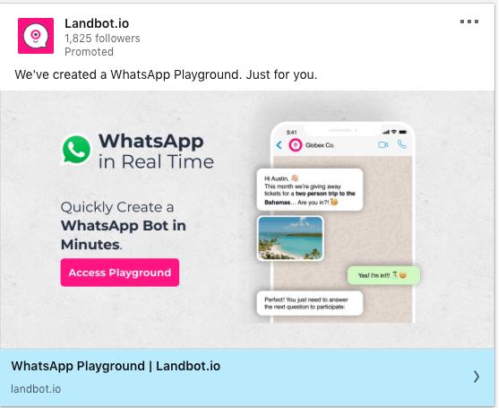 LandBot.io ads on WhatsApp Bot