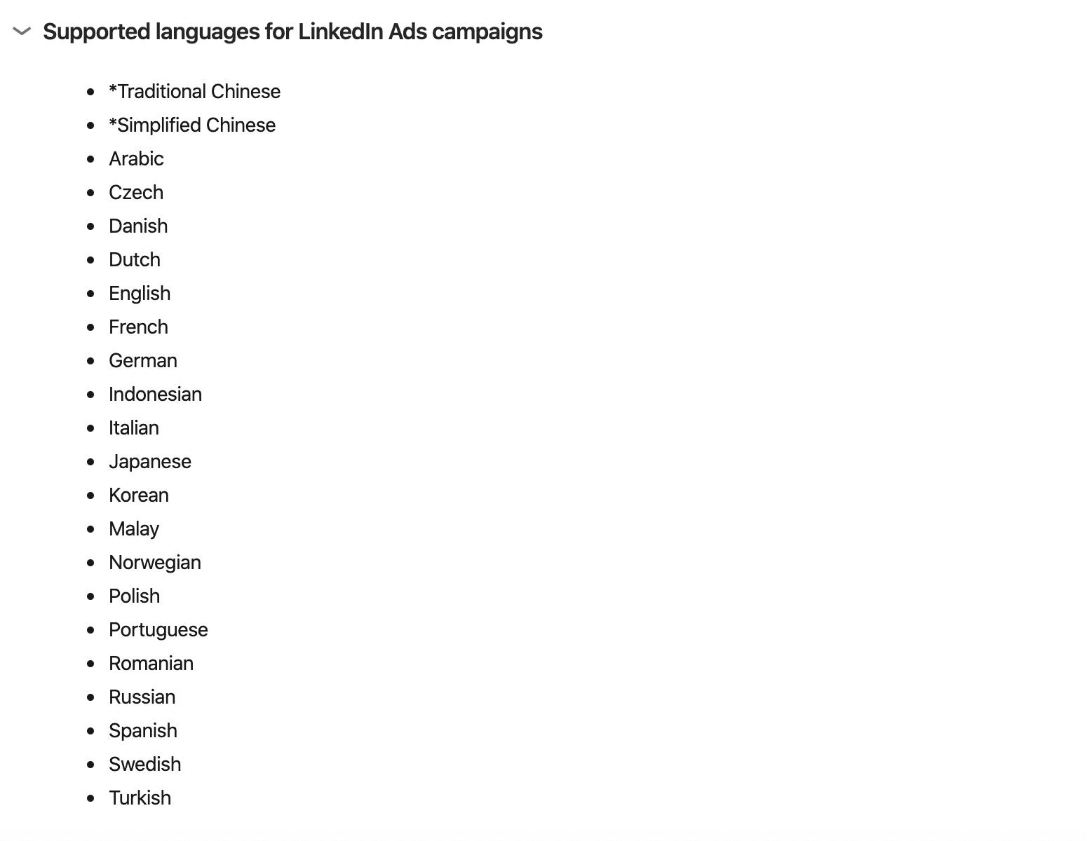 Linkedin support languages