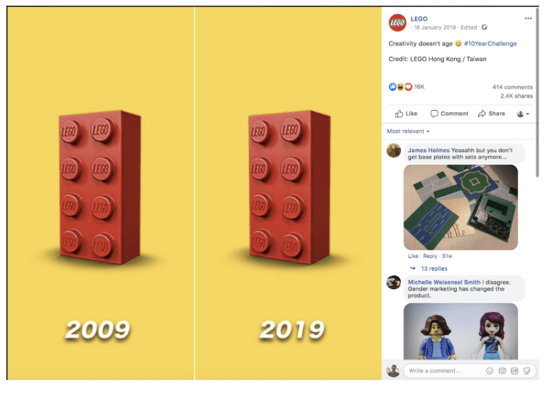 Lego 10yearchallenge instagram post
