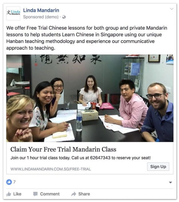 linda mandarin fb ad