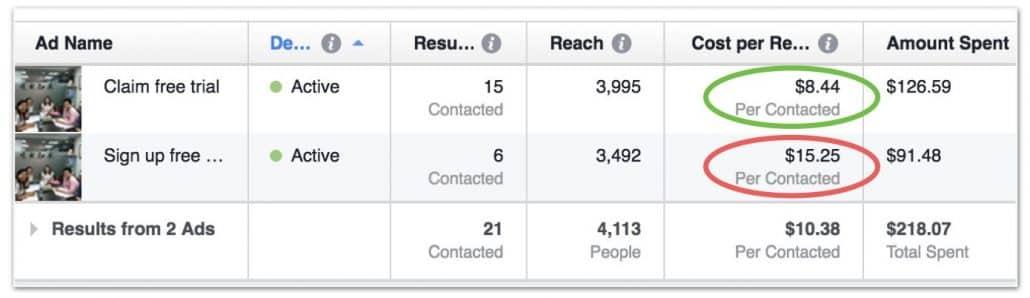 linda mandarin facebook ad metrics