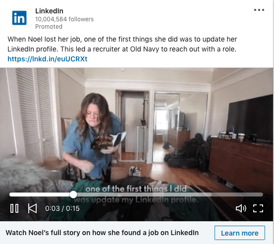Linkedin Marketing Solutions ads on how they help job seekers