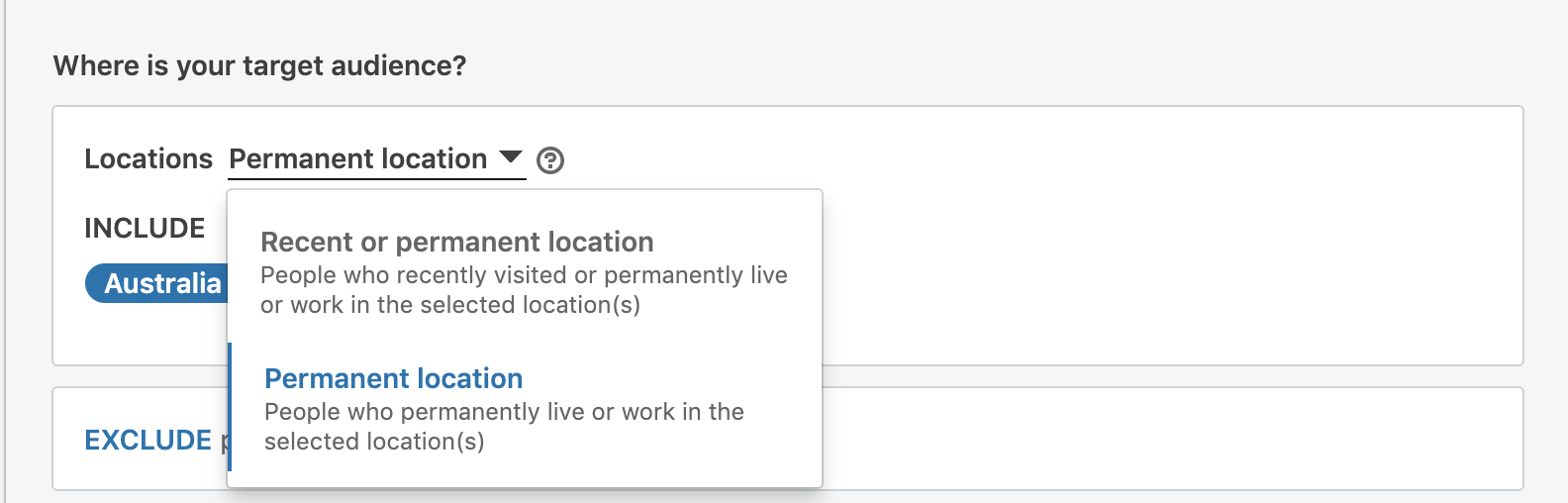 linkedin ads location options recent or permanent
