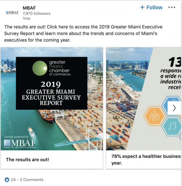 MBAF ads on 2019 Greater Miami Executive Survey Report