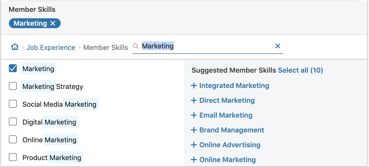 linkedin marketing skills selection