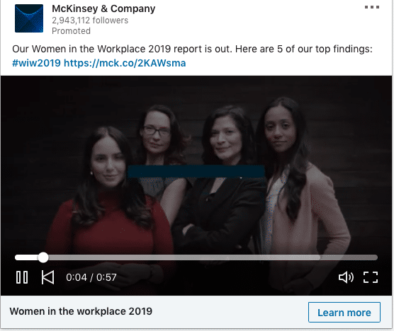 McKindsy & Company ads on Women in the Workplace 2019 report