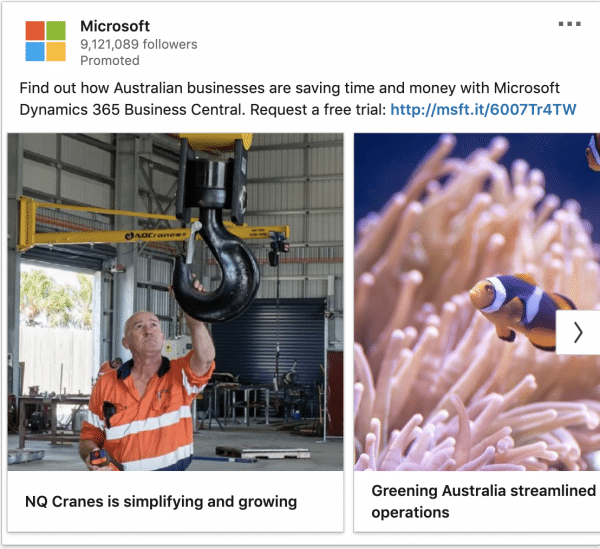 Microsoft ads on Dynamic 365 Business Central