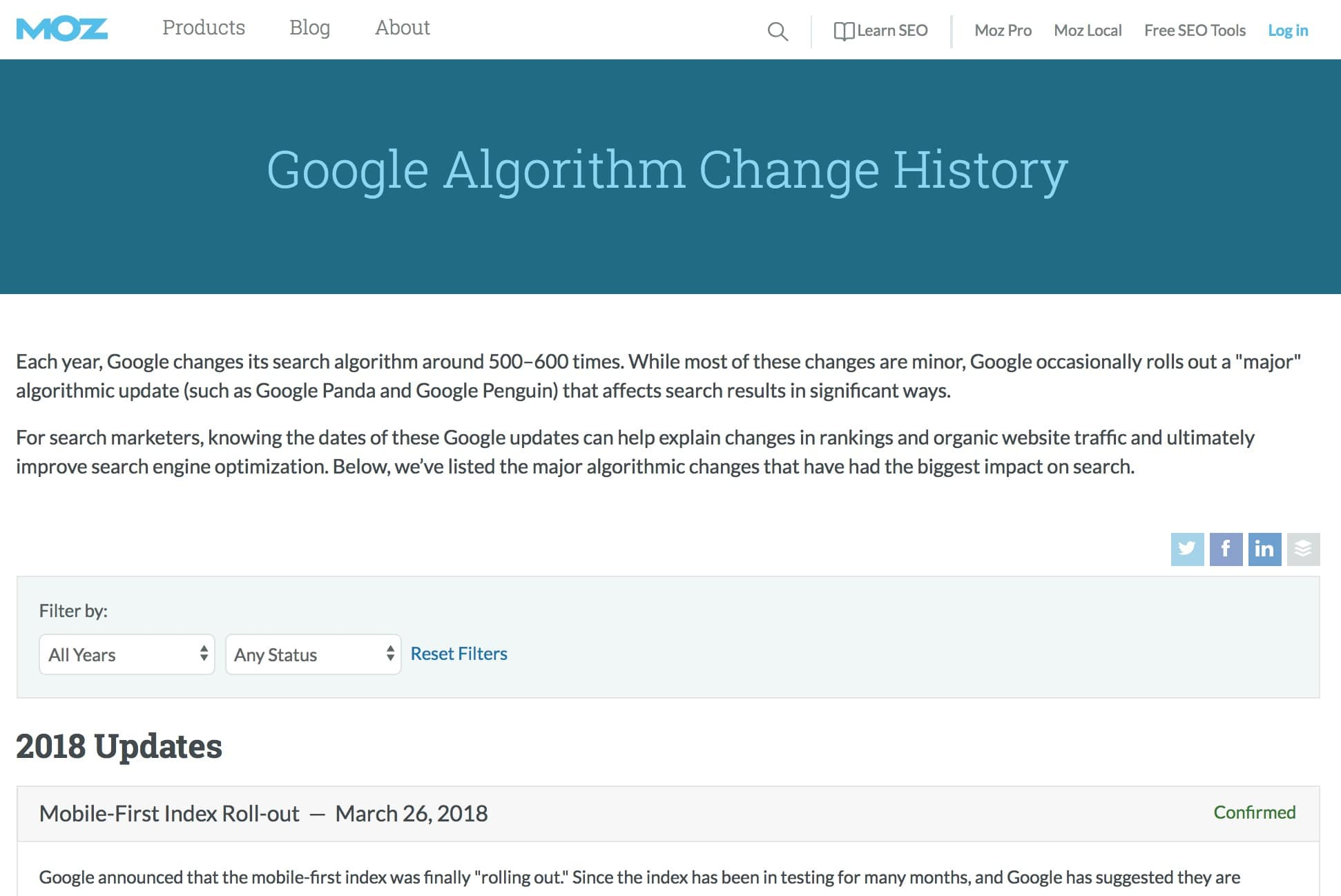 Moz Google Algorithm Changes