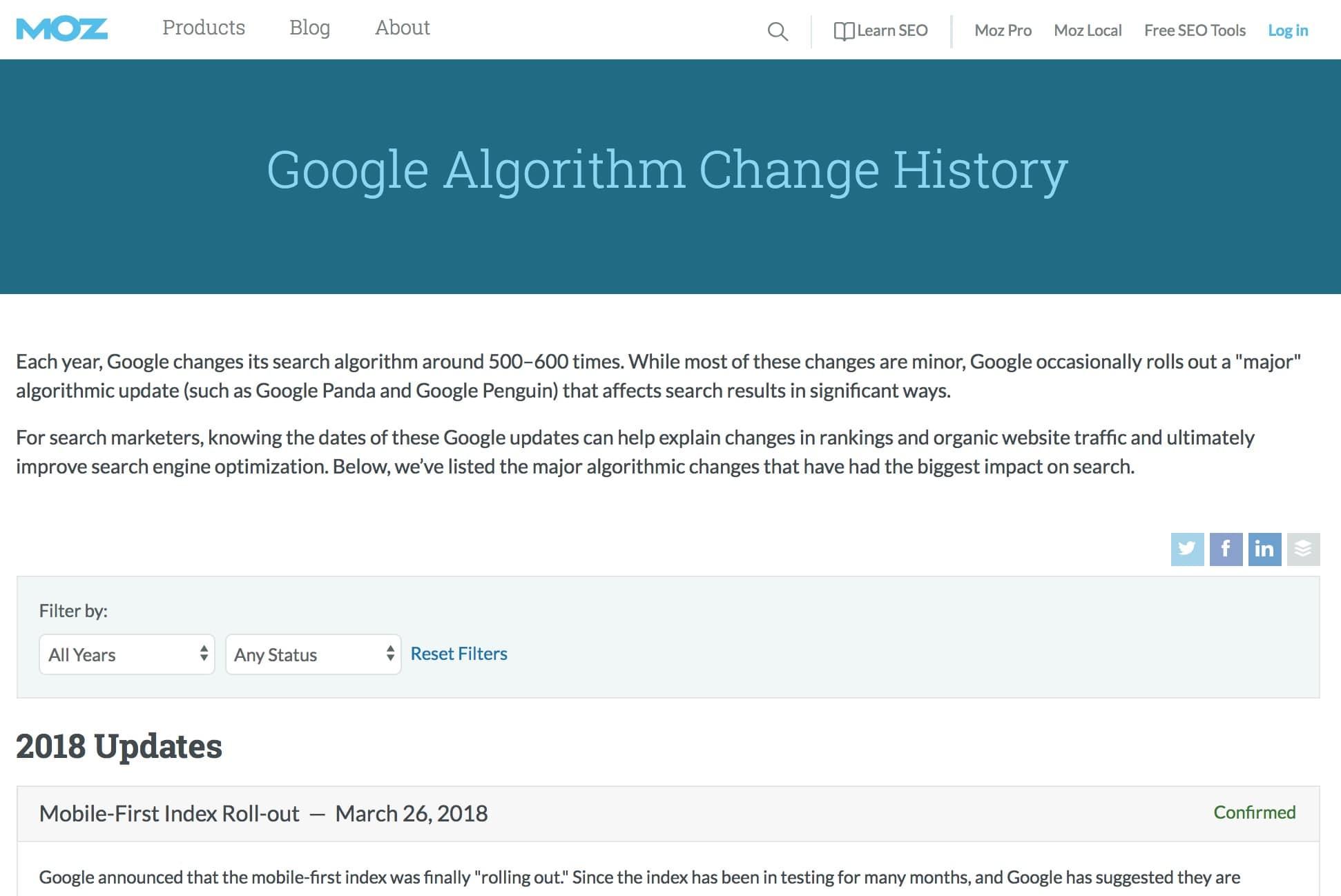 Moz Google Algorithm Changes