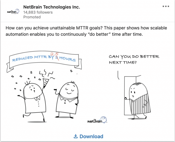 NetBrain ads on unattainable MTTR goals