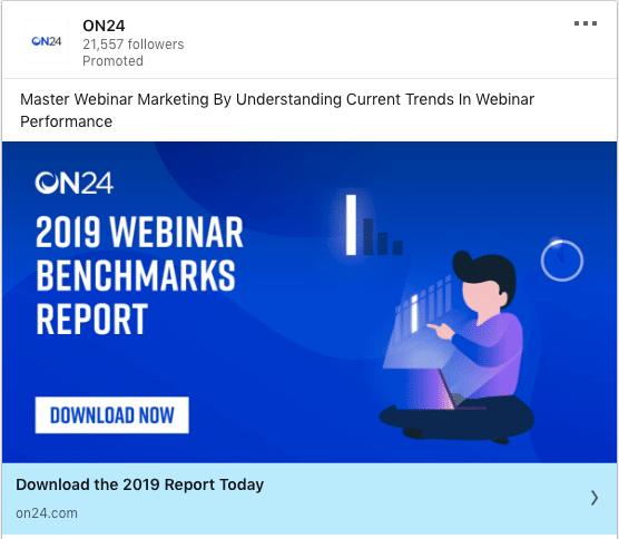 On24 ads on 2019 Webinar Benchmarks Report