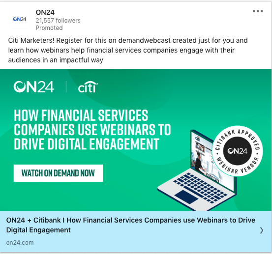 On24 ads on Financial Services Companies Use Webinars