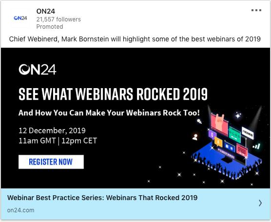On24 ads on Rocked Webinars of 2019