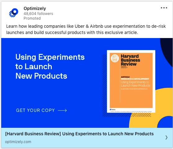 Optimizely ads on Experiments to Launch New Products