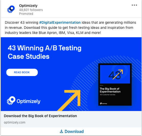 Optimizely ads on A/B testing Case Studies