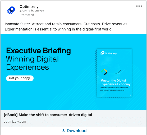 Optimizely ads on Executive Briefing