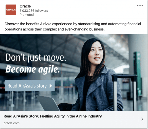 Oracle ads on AirAsia's story