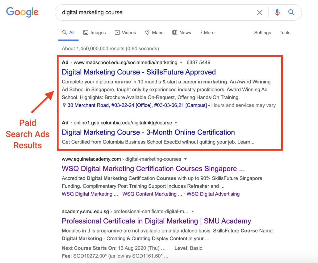 Paid Search Ads Results
