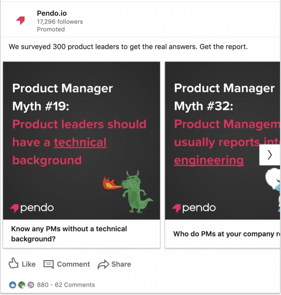 Pendo.io ads on Survey of 300 Product Leaders