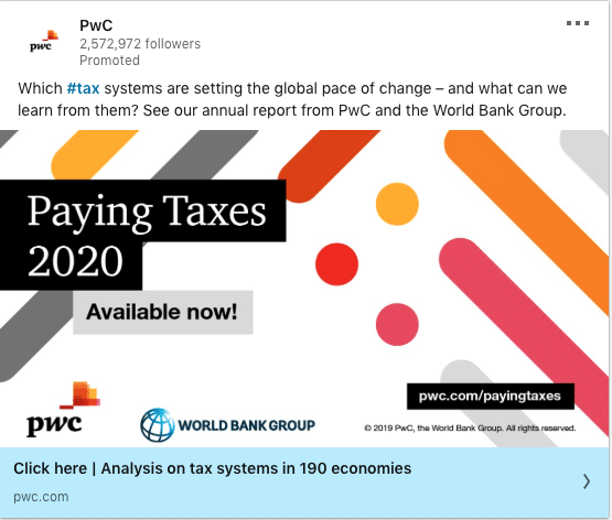 PwC ads on Paying Taxes 2020