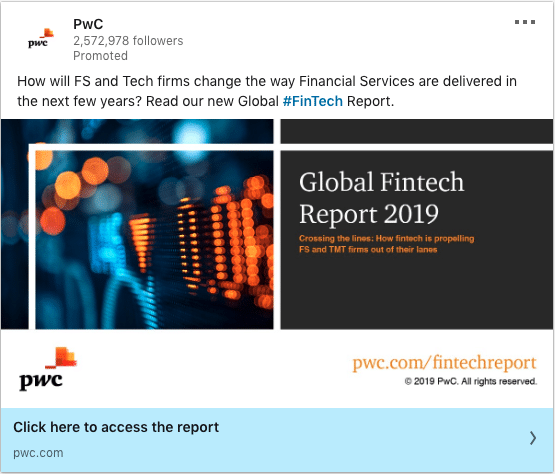 PwC ads on Global Fintech Report 2019