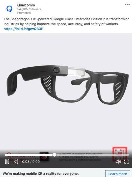 QualComm ads on Snapdragon XR1-powered Google Glass Enterprise Edition 2