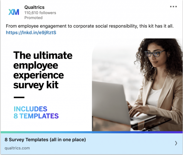 Qualtrics ads on the ultimate employee experience survey kit
