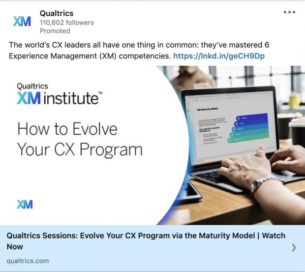 Qualtrics ads on CX Program