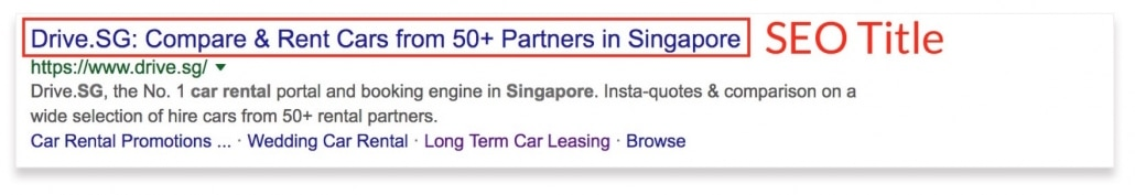 SEO Title tags snippet example