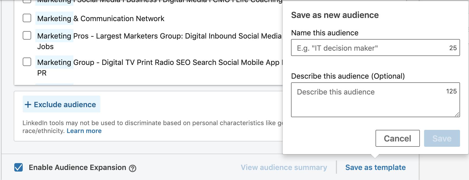 linkedin ads save as template