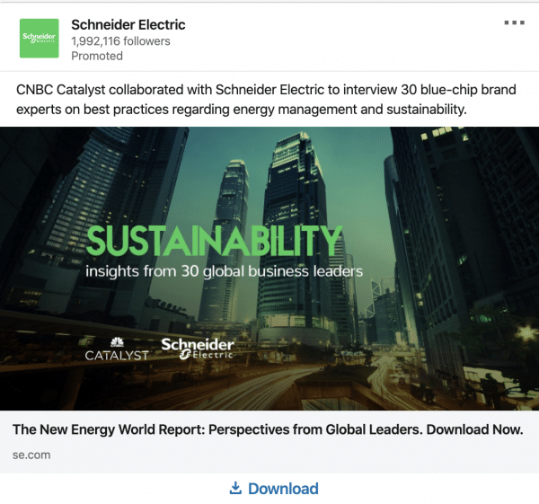 Schneider Electric ads on Sustainability