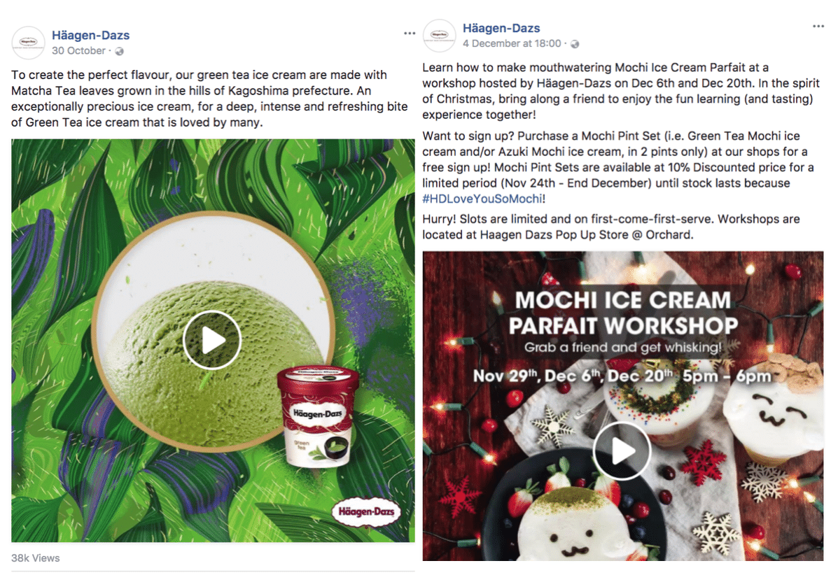 Facebook posts by Häagen-Dazs Singapore