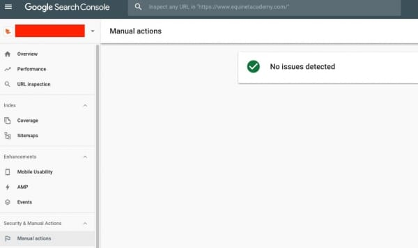 Search Console Manual Action Report