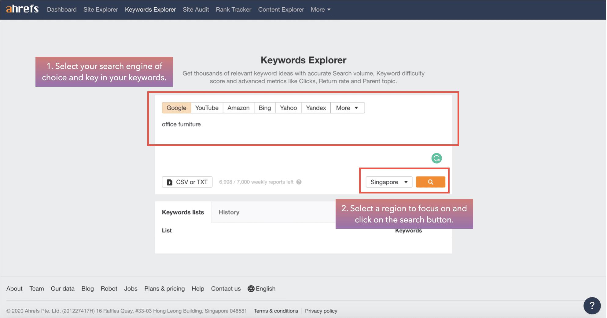 screenshot of ahref keyword explorer