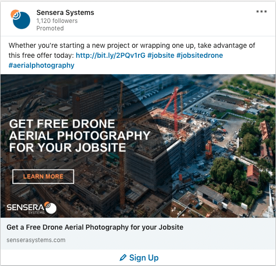 Sensera Systems ads on Drone Aerial Photography For Jobsite