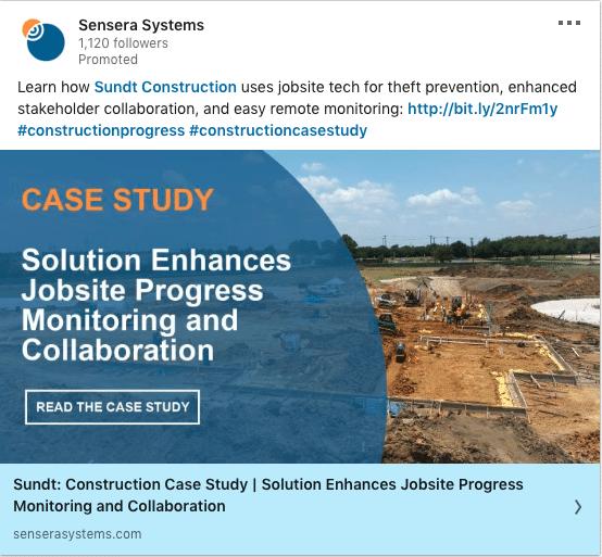 Sensera Systems ads on Jobsite Progress Monitoring and Collaboration
