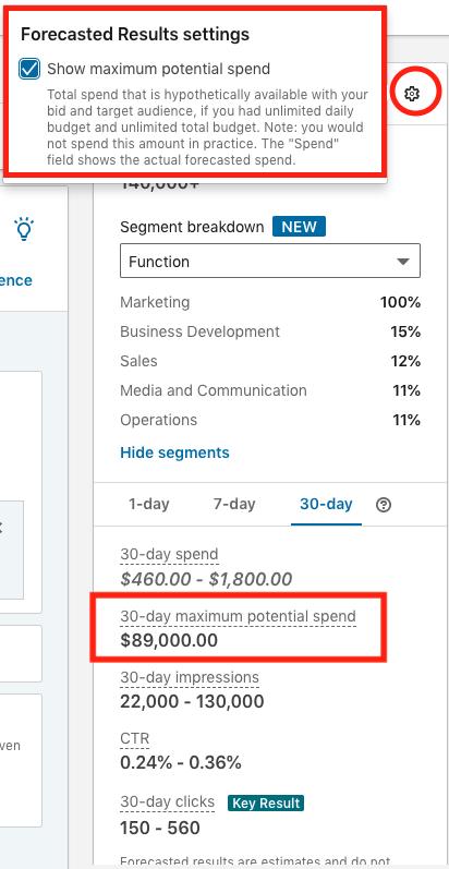 show maximum potential spend