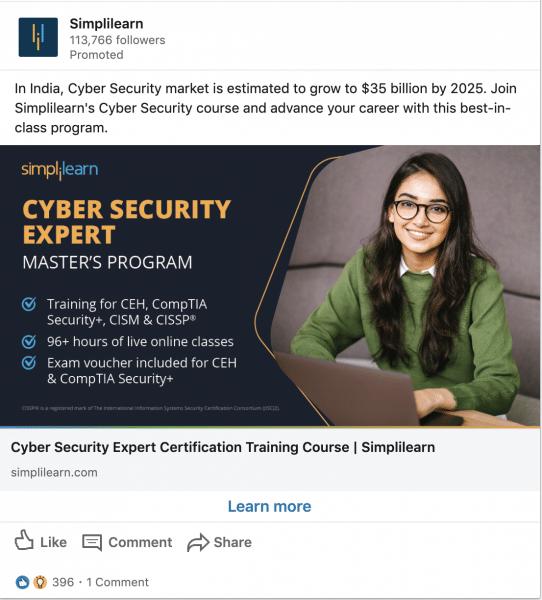 Simplilearn ads on Cyber Seurity Expert