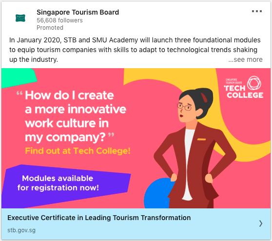 Singapore Tourism Board ads on Tourism Transformation