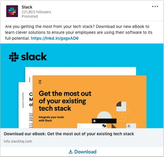 Slack ads on existing tech stack