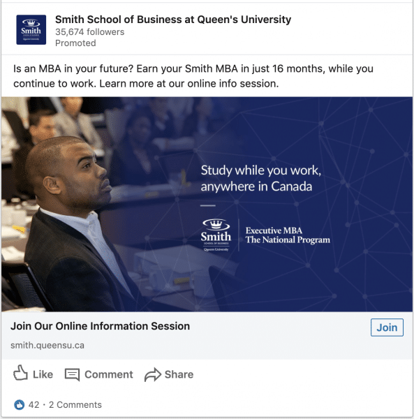 Smith School of Business at Queen's University ads on study in Canada
