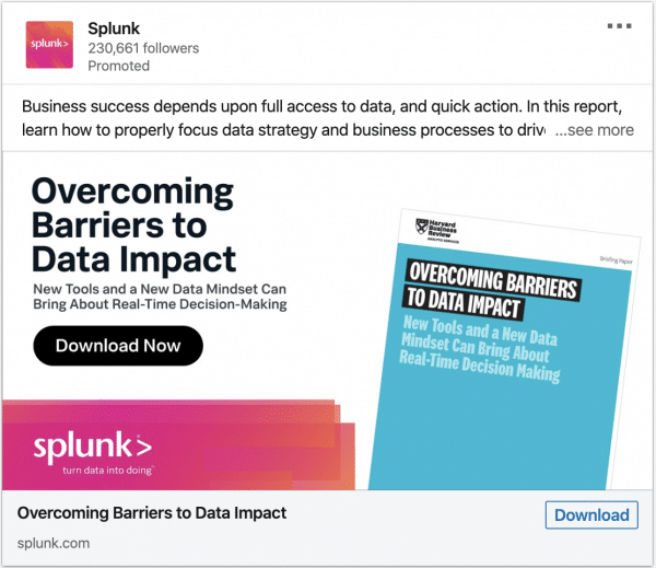 Splunk ads on Overcoming Barriers to Data Impact
